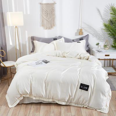 2019新款水洗真丝四件套 1.5m(5英尺)床 绚丽-米白