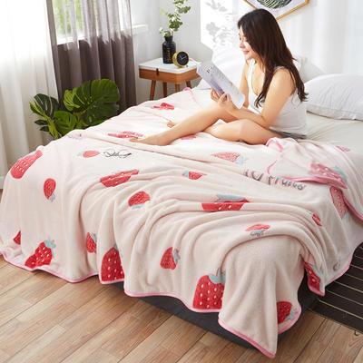 2019新款夏季珊瑚绒雪花绒小毛毯 1.2*2.0m 草莓日记