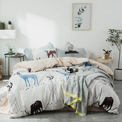 2019新款时尚印花法莱绒四件套 1.5m(床单款四件套) 北欧之鹿