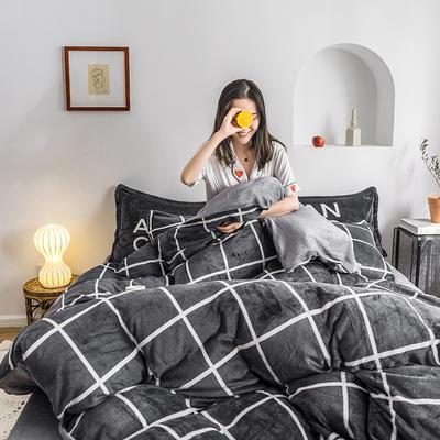 2020热款北欧时尚印花法莱绒四件套 1.5m(床单款四件套) 堇色年华