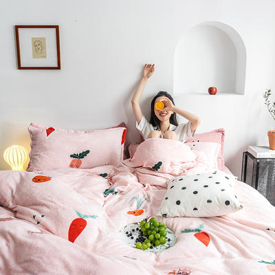 2020热款北欧时尚印花法莱绒四件套 1.8m(床单款四件套) 可爱萝卜