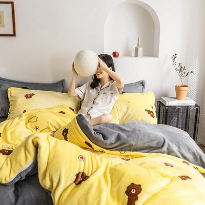 2020热款北欧时尚印花法莱绒四件套 1.5m(床单款四件套) 可爱熊