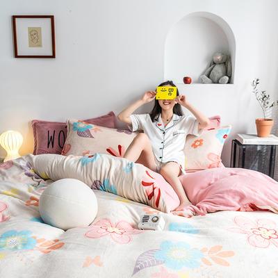 2020热款北欧时尚印花法莱绒四件套 1.8m(床单款四件套) 浪漫花海