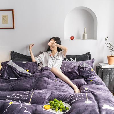 2019新款时尚印花法莱绒四件套 1.8m(床单款四件套) 云里