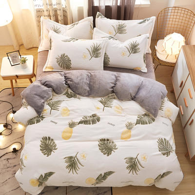 2019新款雪花绒保暖四件套 1.8m(床单款四件套) 菠萝与蕉叶的爱情