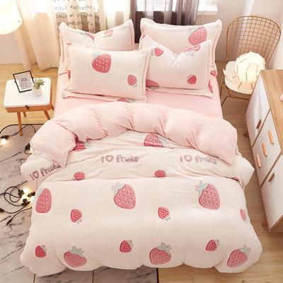 2019新款雪花绒保暖四件套 1.2m(床单款三件套) 草莓