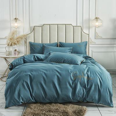 2020新款臻丝棉缎纯色绣花系类四件套 1.2m床单款三件套 宝石蓝