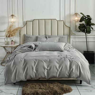 2020新款臻丝棉缎纯色绣花系类四件套 1.5m床单款四件套 香槟银