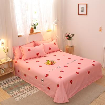 2020新款全棉生态磨毛单品床单 245cmx250cm 草莓心晴