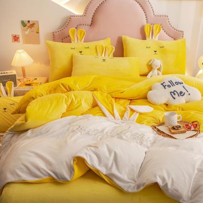 2020新款水晶绒刺绣萌萌兔系列四件套 1.5m床单款四件套 亮黄白