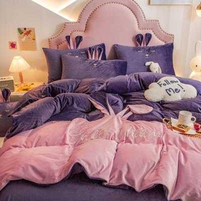 2020新款水晶绒刺绣萌萌兔系列四件套 1.8m床单款四件套 魅紫粉