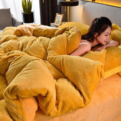 2020新款保暖华夫格素色系列四件套 1.5m床单款四件套 布拉格-姜黄