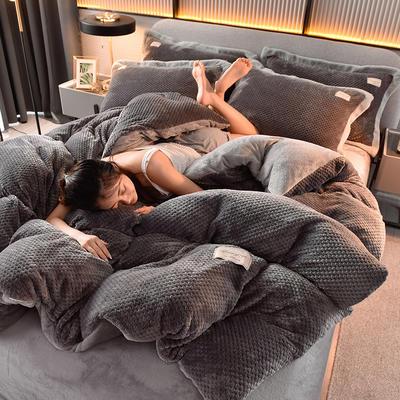 2020新款保暖华夫格素色系列四件套 1.5m床单款四件套 布拉格-太空灰