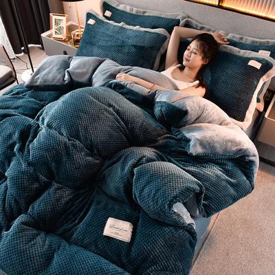 2020新款保暖华夫格素色系列四件套 1.5m床单款四件套 布拉格-月光蓝