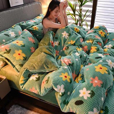 2020新款保暖华夫格印花系列四件套 1.8m床单款四件套 花开半夏