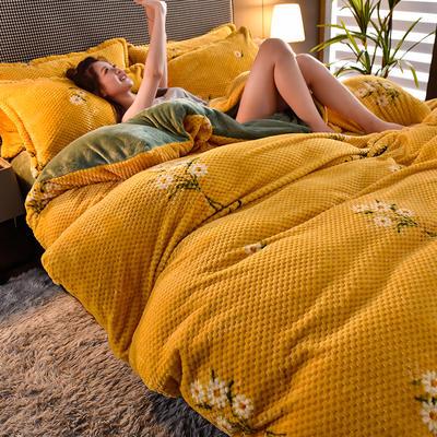 2020新款保暖华夫格印花系列四件套 1.5m床单款四件套 花语-黄