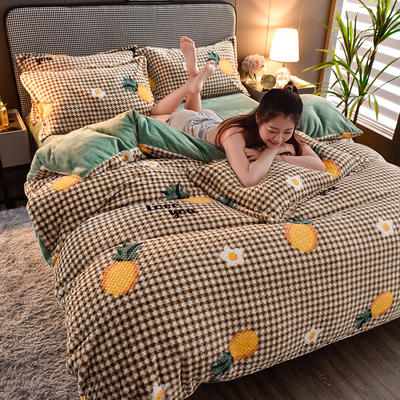 2020新款保暖华夫格印花系列四件套 1.5m床单款四件套 曼格