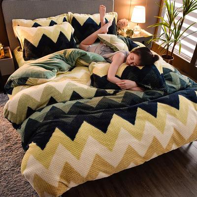 2020新款保暖华夫格印花系列四件套 1.5m床单款四件套 梦境-绿
