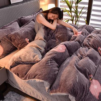 2020新款保暖华夫格印花系列四件套 1.8m床单款四件套 浅吟