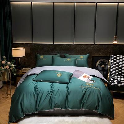 2021新款  60s 长绒棉绣花四件套系列 1.8m(6英尺)床 美瑞-绿