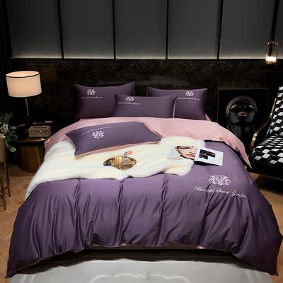 2021新款  60s 长绒棉绣花四件套系列 1.8m(6英尺)床 美瑞-紫