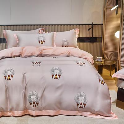 2021新款60S兰精天丝四件套 1.8m(6英尺)床 甜梦-粉