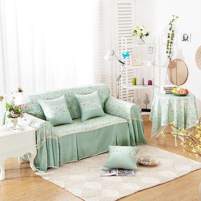 韩式印花全盖沙发巾万能盖巾沙发套罩桌布抱枕套 215*200cm单人位 小资情调-绿