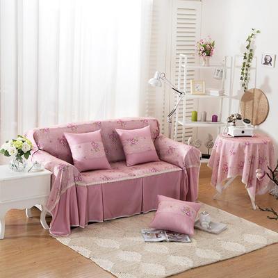 韩式印花全盖沙发巾万能盖巾沙发套罩桌布抱枕套 215*200cm单人位 雅丽粉