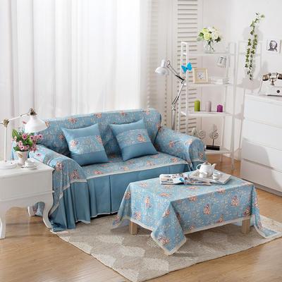 韩式印花全盖沙发巾万能盖巾沙发套罩桌布抱枕套 215*200cm单人位 雅丽蓝