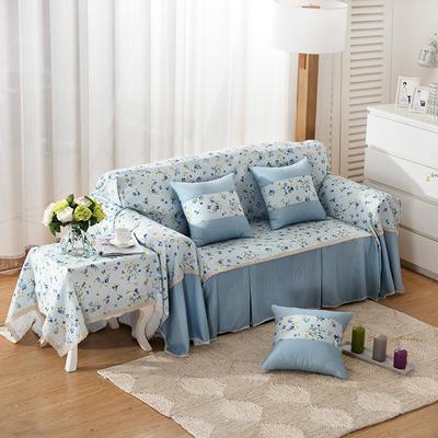 韩式印花全盖沙发巾万能盖巾沙发套罩桌布抱枕套 215*200cm单人位 春韵蓝