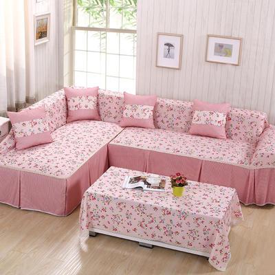 韩式印花全盖沙发巾万能盖巾沙发套罩桌布抱枕套 215*200cm单人位 春韵粉