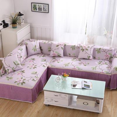 田园风系列全盖沙发巾沙发罩万能盖巾桌布抱枕套 215*200cm单人位 花间密语紫
