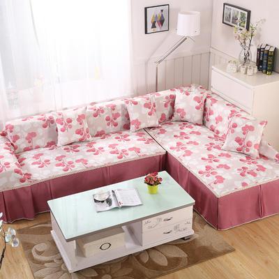 田园风系列全盖沙发巾沙发罩万能盖巾桌布抱枕套 215*200cm单人位 相思叶