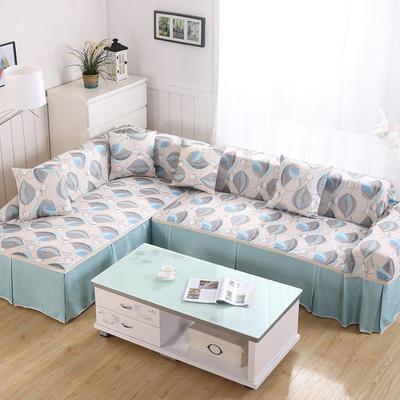 田园风系列全盖沙发巾沙发罩万能盖巾桌布抱枕套 215*200cm单人位 浓浓花羽