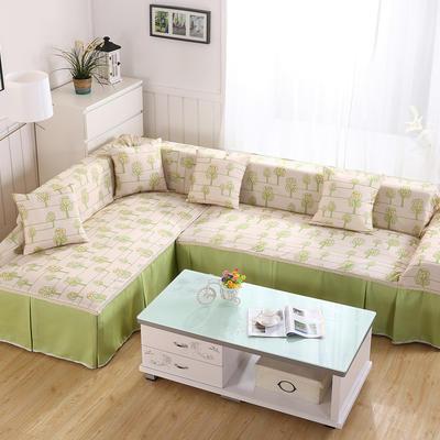 田园风系列全盖沙发巾沙发罩万能盖巾桌布抱枕套 45*45cm抱枕套 恋曲-绿