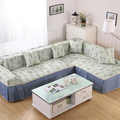 田园风系列全盖沙发巾沙发罩万能盖巾桌布抱枕套 215*200cm单人位 恋曲-蓝