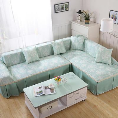 田园风系列全盖沙发巾沙发罩万能盖巾桌布抱枕套 215*200cm单人位 清雅