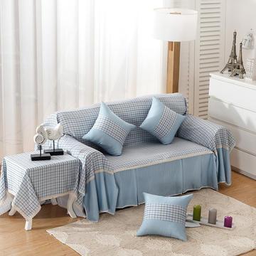 时尚条格系列全盖沙发巾万能盖巾抱枕套桌布沙发套沙发罩