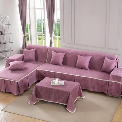 四季款棉麻全盖沙发巾万能盖巾沙发套沙发罩沙发垫抱枕套桌布 45*45cm同款抱枕套 富贵紫