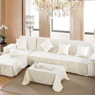 四季款棉麻全盖沙发巾万能盖巾沙发套沙发罩沙发垫抱枕套桌布 45*45cm同款抱枕套 经典白