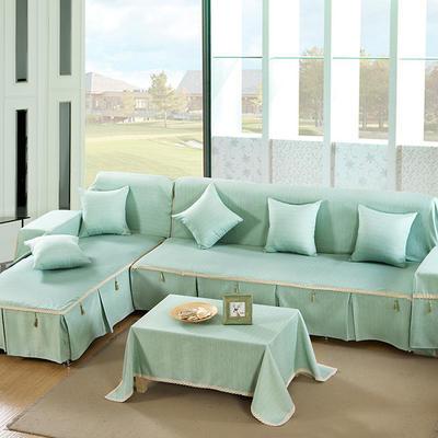 四季款棉麻全盖沙发巾万能盖巾沙发套沙发罩沙发垫抱枕套桌布 45*45cm同款抱枕套 水晶蓝