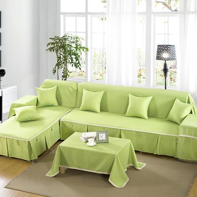 四季款棉麻全盖沙发巾万能盖巾沙发套沙发罩沙发垫抱枕套桌布 45*45cm同款抱枕套 苹果绿