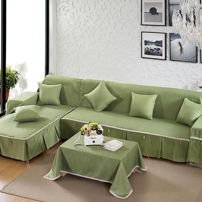 四季款棉麻全盖沙发巾万能盖巾沙发套沙发罩沙发垫抱枕套桌布 45*45cm同款抱枕套 翡翠绿