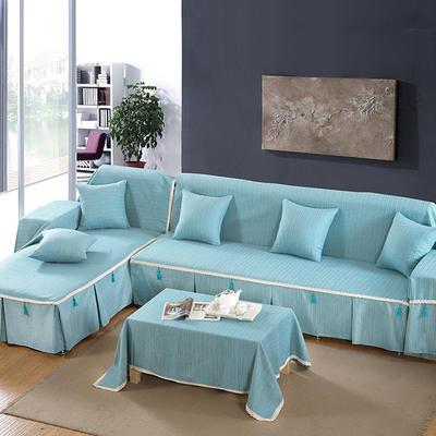 四季款棉麻全盖沙发巾万能盖巾沙发套沙发罩沙发垫抱枕套桌布 130*130cm同款桌布 孔雀蓝