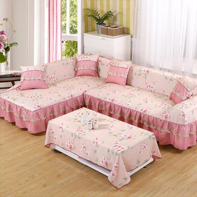 双面专利蕾丝沙发巾万能盖巾沙发套沙发罩抱枕套桌布沙发垫 215*350cm四人沙发巾 十里桃花-粉