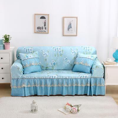 双面专利蕾丝沙发巾万能盖巾沙发套沙发罩抱枕套桌布沙发垫 215*350cm四人沙发巾 十里桃花-蓝