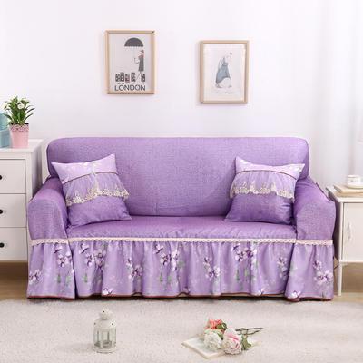 双面专利蕾丝沙发巾万能盖巾沙发套沙发罩抱枕套桌布沙发垫 215*350cm四人沙发巾 十里桃花-紫
