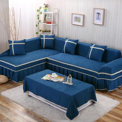 四季款丝光绒雕花系列万能盖巾沙发巾沙发套沙发罩抱枕套桌布 200*350cm四人位 蓝色海岸