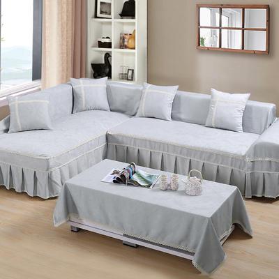 四季款丝光绒雕花系列万能盖巾沙发巾沙发套沙发罩抱枕套桌布 200*350cm四人位 灰色时尚