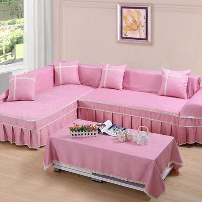 四季款丝光绒雕花系列万能盖巾沙发巾沙发套沙发罩抱枕套桌布 200*350cm四人位 粉色回忆
